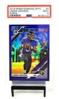 2019 Optic PURPLE REFRACTOR Ravens LAMAR JACKSON Card /50 PSA 9 MINT / Pop 2