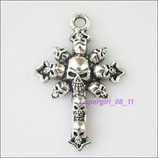 2Pcs Tibetan Silver Skull Cross Charms Pendants 28x76mm