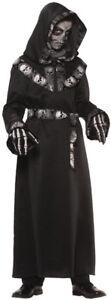 Skull Master Hooded Robe Child Costume Halloween Scary Look Underwraps