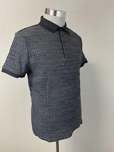 Men's River Island NWT Muscle Fit Slim Small Geometric Polo Shirt Stretch N17