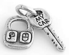 SILVER CAR KEY WITH REMOTE CONTROL CHARM OR PENDANT