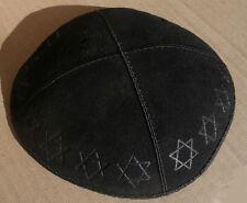 Black Suede Kippa Star of David embossed pattern around the kippot Yarmulke NEW