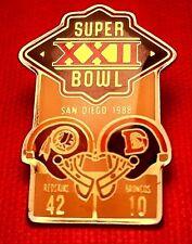 Vintage Nfl Super Bowl Xxii (22) Starline Collector Set Pin: Redskins vs Broncos