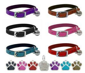 Leather Cat Collar, Safety Elastic Bell, Range of Colours & Engraved Glitter Tag