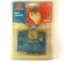 """Vintage WB Looney Tunes TAZ Brother P-Touch 3/4"""" Black On TAZ Laminated Tape NOS"""