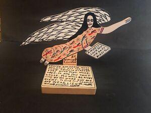 Howard Finster ORIGINAL SIGNED Wood Angel Cut Out on Stand 1996 Folk Art