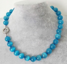 Fashion 10mm Natural Blue Mexican Opal Gemstone Round Beads Necklace 18'' AAA