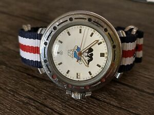 Serviced Vostok Amphibia Commanders With Cat On Dial  Military Soviet Watch