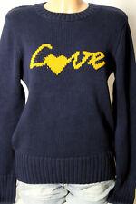 """ZARA Pullover Gr. M/L dunkel-blau Strick Damen Pullover mit Aufschrift """"love"""""""