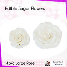 Edible Sugar Flowers 1 Large Rose Cake Cupcake Decorations Toppers Flowers White