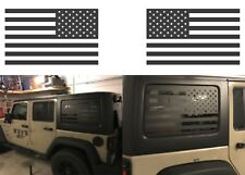 (2) Matte Black American Flag Rear Window Decals For 2007-2017 Jeep Wrangler JKU
