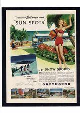 Vintage Greyhound Bus Travel Snow Skiing Luxury Ocean Sun Bikini Girls Ad Print