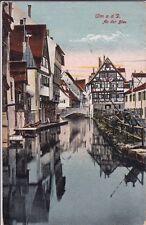uralte AK, Ulm an der Donau, An der Blau, gezeichnet als Feldpost, 1917