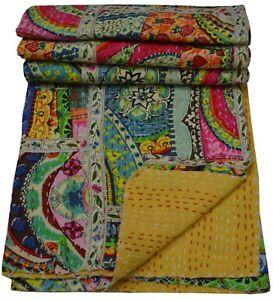 Indian Handmade Twin Cotton Kantha Quilt Throw Blanket Vintage Quilt Bedspread