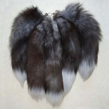 Silver Fox Tail Key Chain Fur Tassel Bag Tag Charm Key Ring