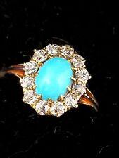 Vintage 1940s-50s Estate 14K Yellow Gold Persian Turquoise 12 Diamond Halo Ring