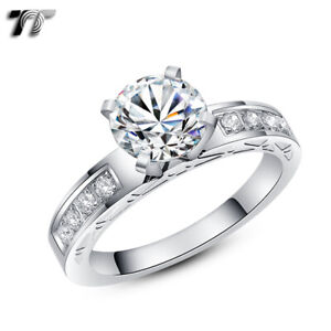 High Quality TT Stainless Steel 2 Ct Engagement Wedding Band Ring (R310S)