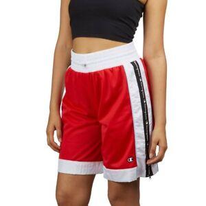 CHAMPION Plus size mesh shorts side zipper women's shorts - Red/White- XXL/ 2X