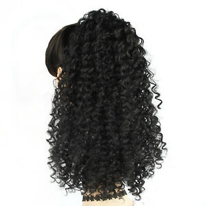 Afro Kinky Curly Ponytail Extensions Ombre Synthetic Drawstring Short Hair Bun