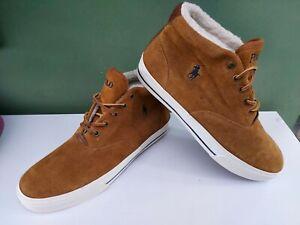 Mens Tan Suede Ralph Lauren ZALE Fleece Lined Boots Size 8 Brown Hi Top Trainers