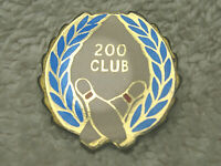 "VINTAGE 200 CLUB 1"" METAL BOWLING LAPEL HAT TIE PIN BLUE WHITE RED - NICE"