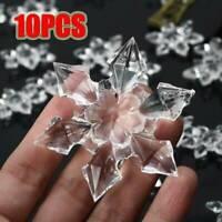 Pack 10pcs Crystal Christmas Snowflakes Ornaments Xmas Tree Hanging Party Decor