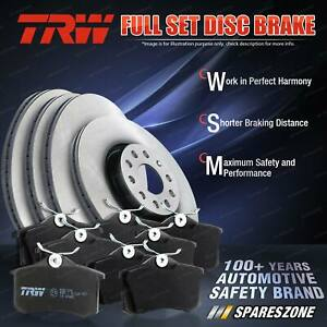 Front + Rear TRW Disc Rotors Brake Pads for Volkswagen Touareg 7L6 3.0L 176KW