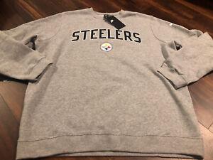 New Nike Pittsburgh Steelers NFL Football Crew Sweatshirt Size Medium Gray Gold
