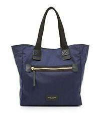 NWT MARC JACOBS BIKER NORTH SOUTH NYLON LEATHER TOTE BAG PEACOAT BLUE $ 195