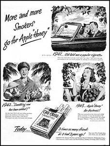1944 Apple Honey Old Gold Cigarettes bulldogs girls vintage art Print Ad ADL14