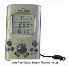 """Wired Digital Time, Temperature, Thermometer, Humidity 4.5""""x2.75"""" Acurite Gauge"""