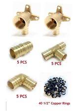 57 Pcs 12 Pex Crimp Fittings Ampcopper Rings 2 Drop Ear Teecoupling Elbow