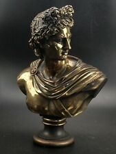 Greek Bronze Apollo Bust Statue Signed From Knossos