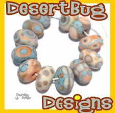 PUEBLA Handmade Lampwork Beads Turquoise Blue Ivory Cream Coral Purple Matte