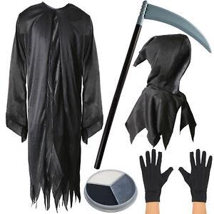 Kids Boys Grim Reaper Costume Halloween Fancy Dress Outfit Horror Trick Or Treat
