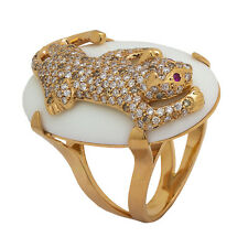 18K Rose Gold Diamond White Onyx Panther Ring  1.50ct  Size 7