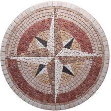 ROsoni rosone mosaico in marmo rosa dei venti diam.100 incollata su rete ART.103