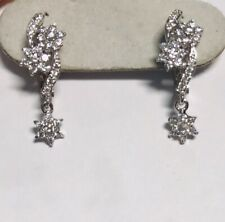 14k Solid White Gold French Stud Dangle Earring With White Stone 3.46GM
