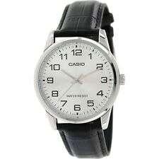 """NEW Casio MTP-v001L-7B Men's BLACK Leather Watch """"EASY-READER"""" Dial SILVER tone"""
