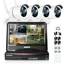 4CH Wireless Wifi NVR System 720P HD IP Camera P2P CCTV Security LCD Monitor 1T