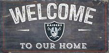 "Oakland Raiders Welcome to our Home Wood Sign - NEW 12"" x 6""  Decoration Gift"