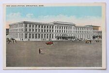 Old postcard NEW UNION STATION, SPRINGFIELD, MA, 1926