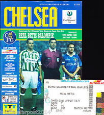 1997/98 CHELSEA V REAL BETIS 19-03-1998 Cup Winners Cup Quarter-Final & Ticket