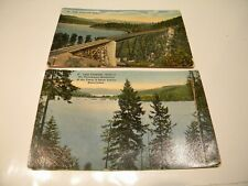 Idaho 2 Lake Chatcolet Postcards: Train Trestle & Coeur d'Alene Reservation