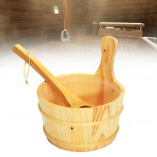 4L Sauna Wooden Bucket Pail Ladle With Linner Combined Set Sauna Room Accessory