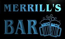w001007-b MERRILL Name Home Bar Pub Beer Mugs Cheers Neon LED Sign
