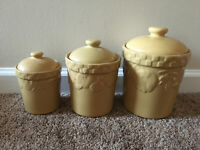 Signature Home Grown Pattern 3 Yellow Ceramic Canisters by Riviera Van Beers