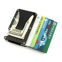 New Minimalist Carbon Fiber Slim Wallet Clip RFID-Blocking ID Credit Card Holder