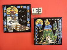 """Ceramic Art Tile 6""""x6"""" 2 pcs set Silhouette with cactus Cowboy boot Coyote E33"""