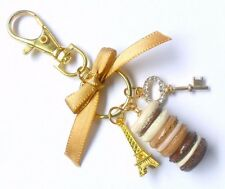 Mocha Chocolate Macaron Trio Eiffel Tower Gold Tone Purse or Bag Charm, Keychain
